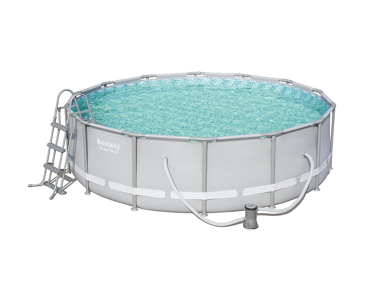Bestway Power Steel Swimming Pool Set, 13020 liters, Grey, 14 ft x 42-Inch/4.27 x 1.07 m 56641