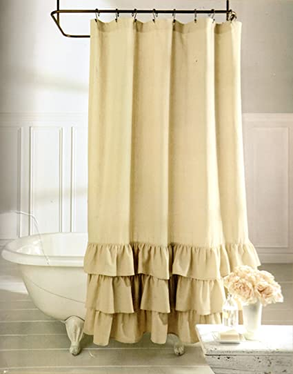 Veratex Vintage Ruffle All Natural Fabric Shower Curtain Amazonca Home Kitchen