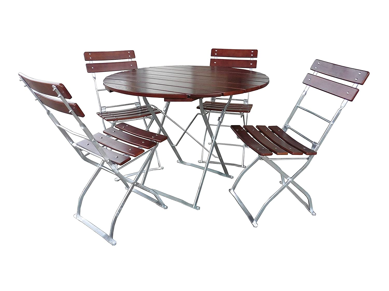Gartengarnitur 1x Tisch 70x70 cm /& 2x Stuhl Edition-Classic kastanie//verzinkt