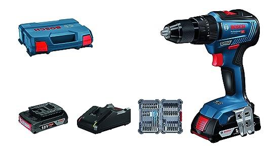 Bosch Professional 06019H5306 Perceuse à Percussion GSB 18V-55 2x2.0 Ah + 35 pièces Accessoires, Bleu