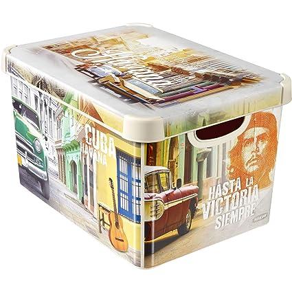 CURVER 04710 de C59 – 49 – Caja Deco – Cuba tamaño s en Color Crema