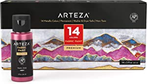 Arteza Metallic Fabric Paint, 60 ml Bottles, Set of 14 Permanent Colors, Washer & Dryer Safe, Textile Paint for Clothes, T-Shirts, Jeans, Bags, Shoes, DIY Projects & Canvas