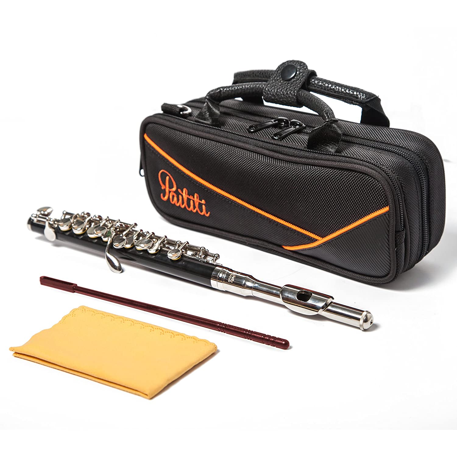 Paititi Professional Centertone Composite Wood Piccolo Flute Silver Plated Head Joint Ebonite Composite Wood Body with Case PTTPC201-EW