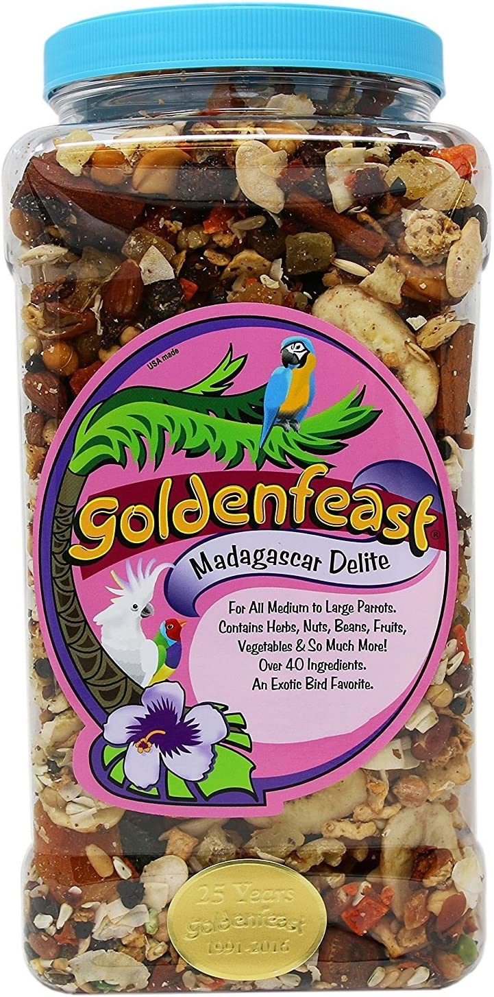 Goldenfeast Madagascar Delite Bird Food, 25 Ounces, for African Grays and Other Medium to Large Parrots