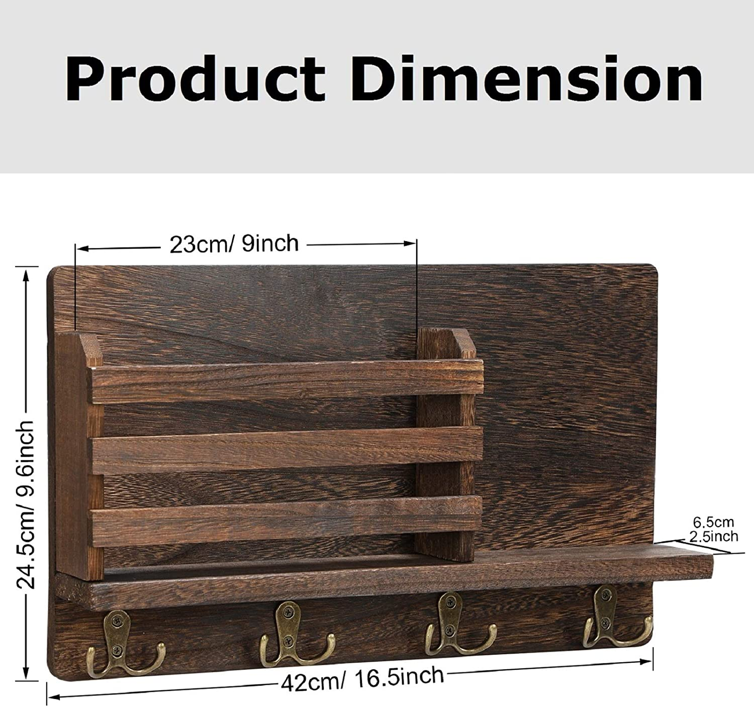 Office Floating Shelves for Coat Rack Key Storage Rack for Kitchen Entryway Mail Envelope Organizer Bathroom Wall Mounted Key Holder Wood Mail Holder with 4 Double Key Hooks Rustic Mail Sorter