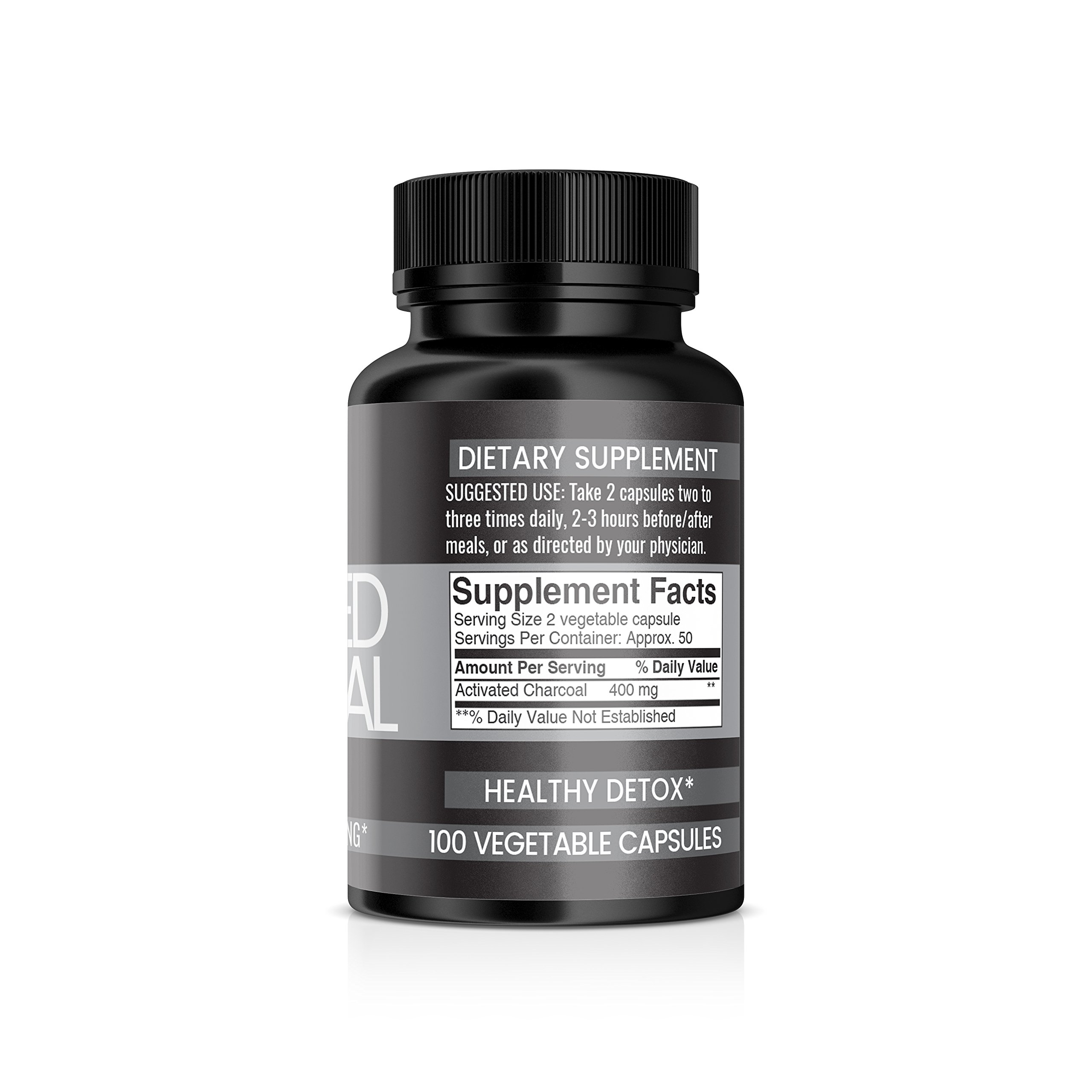 Pure Organic Ingredients, Activated Charcoal Capsules, 400 mg per Serving, Reduces Gas & Bloating, Healthy Natural Detoxification, Veggie Caps, Money Back Guarantee by poi (Image #3)