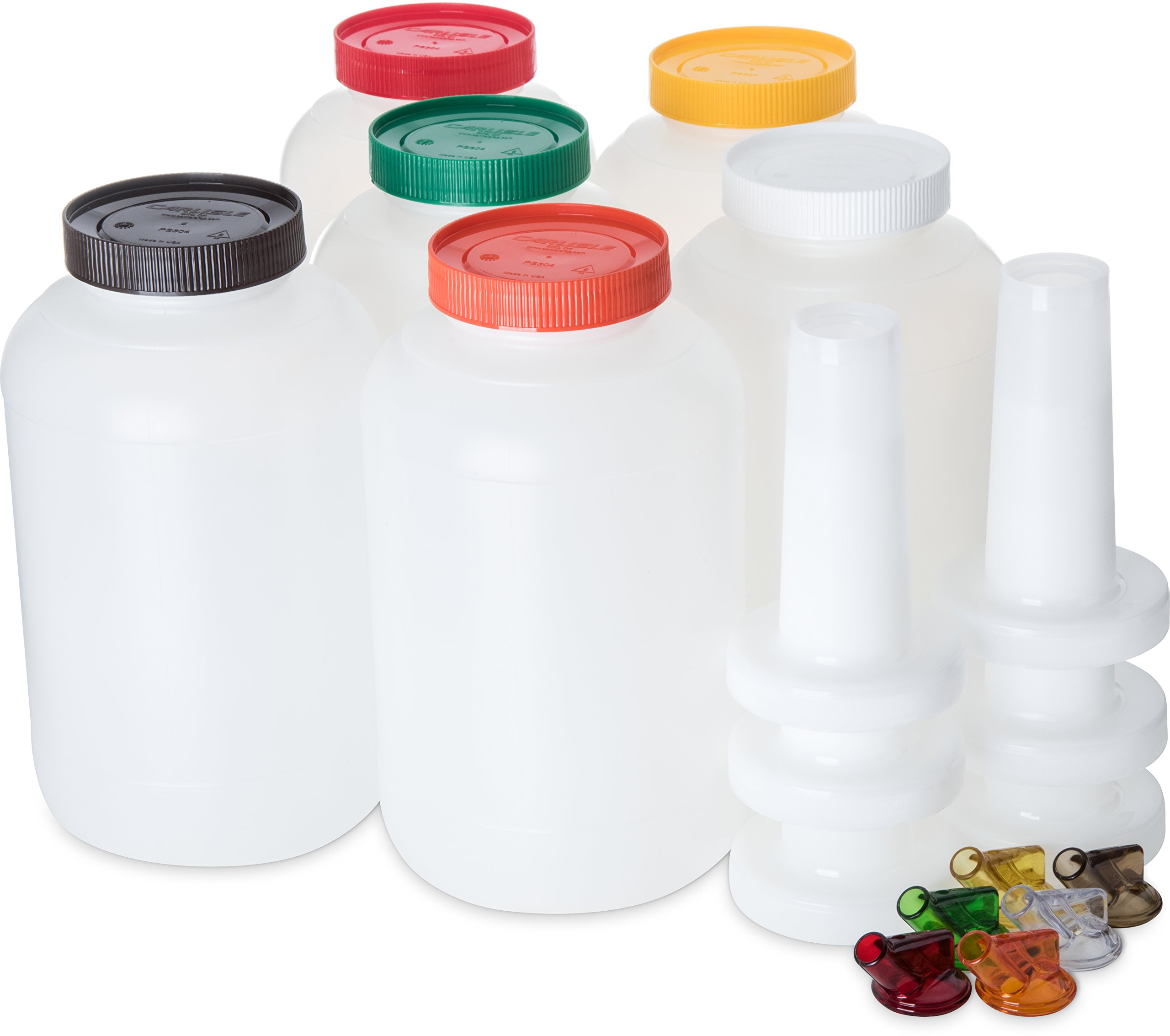 Carlisle PS801B00 Store N' Pour Complete Unit Assorted Colors, 1 Gallon Capacity, Assorted (Pack of 6) by Carlisle