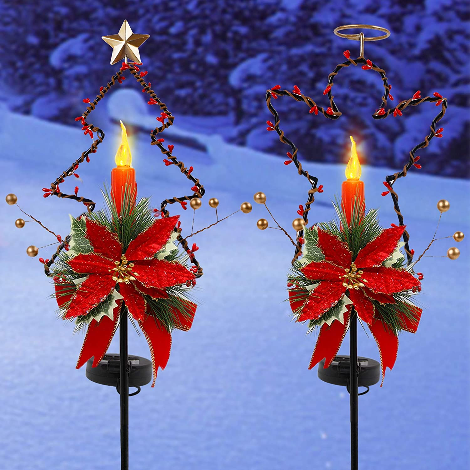GUOOU Solar Christmas Yard Decorations, Outdoor LED Solar Powered Candle Xmas Pathway Lights, Metal Solar Garden Stake Lights, Angel Christmas Tree Lawn Yard Ornament, Set of 2