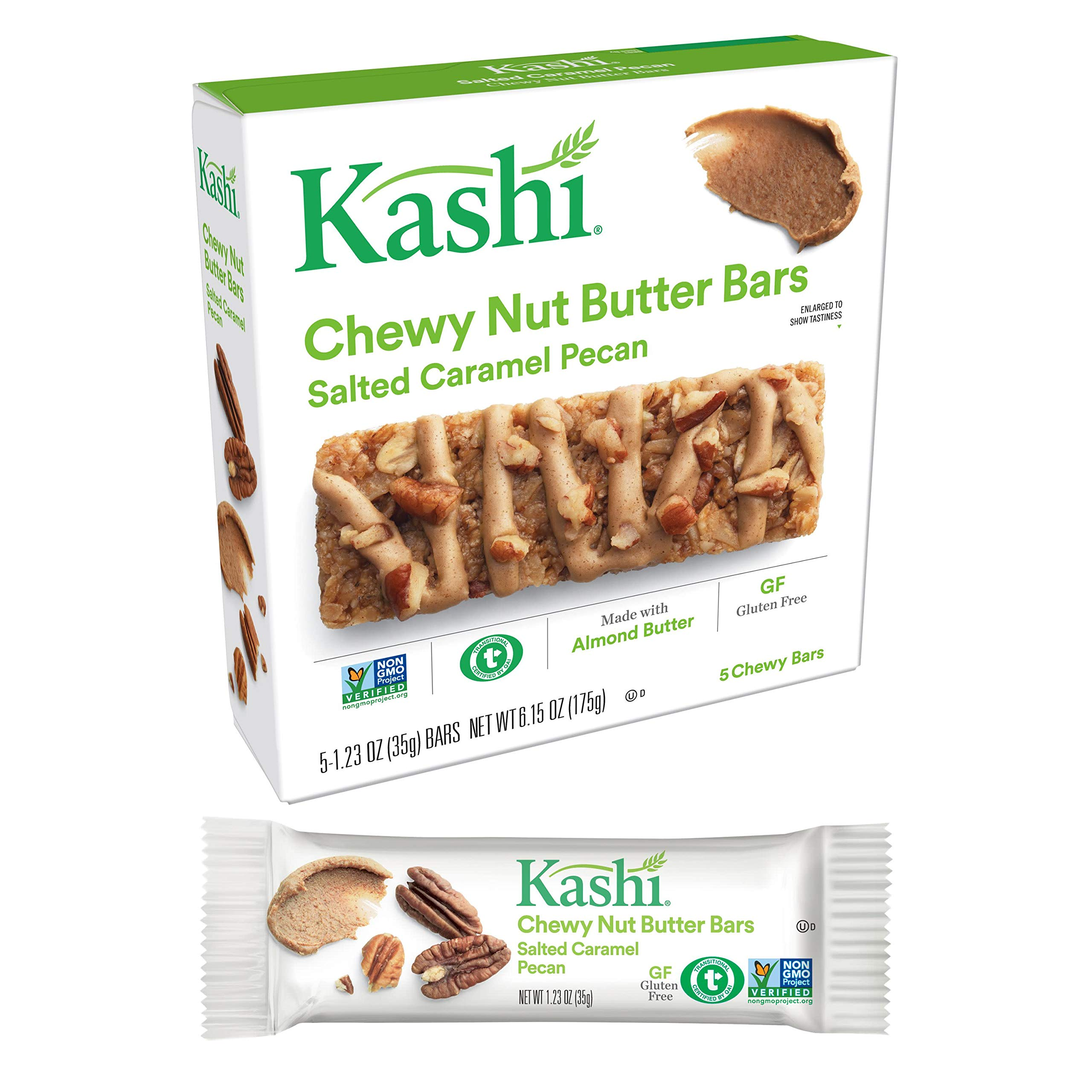 Kashi, Chewy Nut Butter Bars, Salted Caramel Pecan, Gluten Free, Non-GMO Project Verified, 6.15 oz (5 Count)(Pack of 8) by Kashi (Image #3)