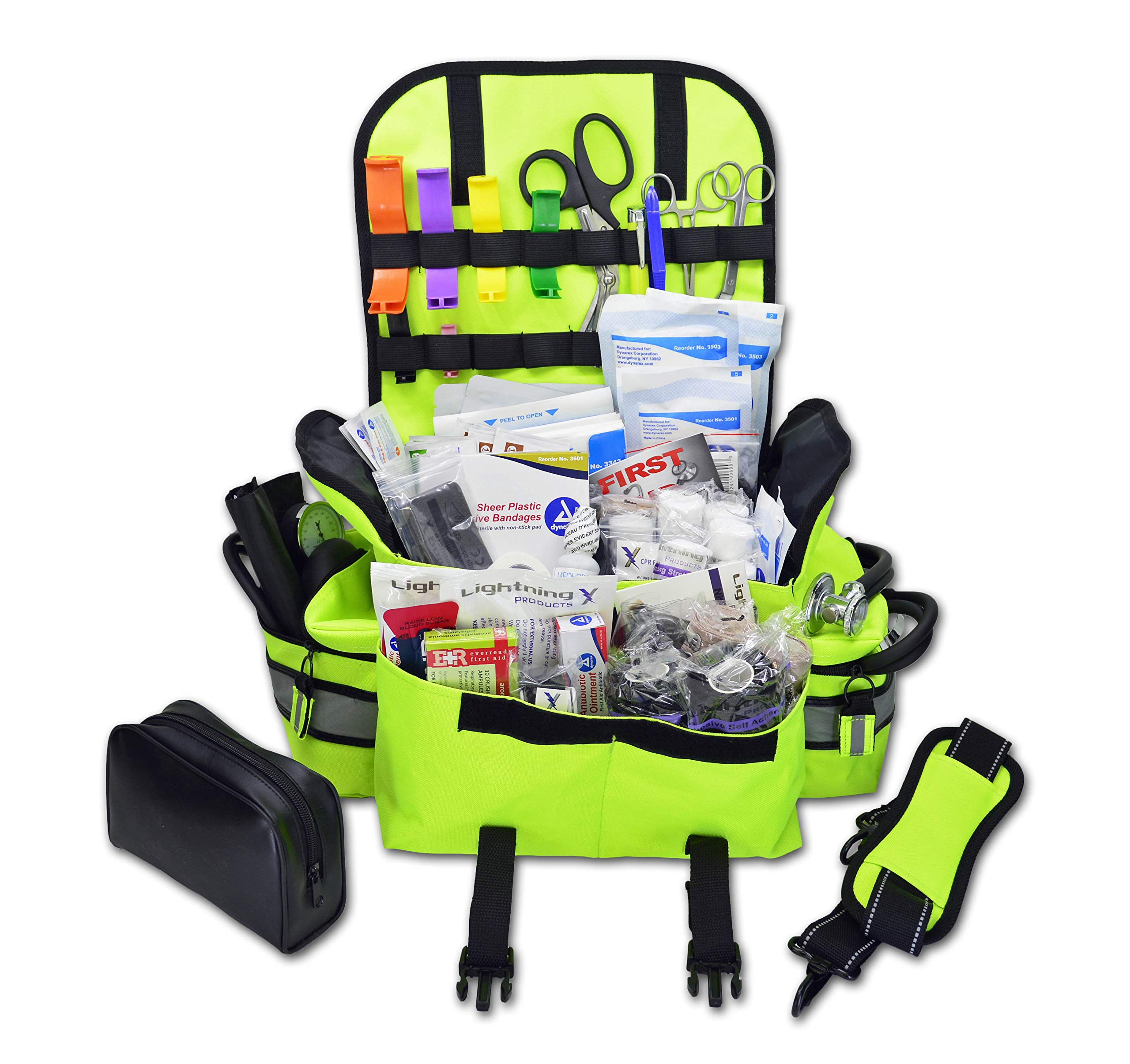 Lightning X Small First Responder EMT EMS Trauma Bag Stocked First Aid Fill Kit B (Fluorescent Yellow) by Lightning X Products