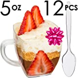 DLux Mini Dessert Cups, Appetizer Bowls with Spoons & Recipe e-Book [Clear Plastic, 5 oz, Espresso Coffee Mug, 12 Count] Small Catering Supplies, Disposable Parfait Tasting Glasses