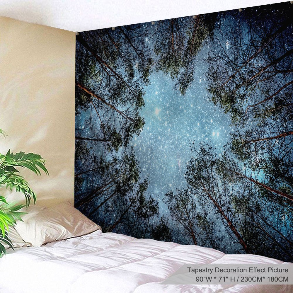 XINYI Home Wall Hanging Nature Art Polyester Fabric Starry Night Theme Tapestry, Wall Decor For Dorm Room, Bedroom, Living Room, Nail Included - 90'' W x 71'' L (230cmx180cm) - Forest starry sky