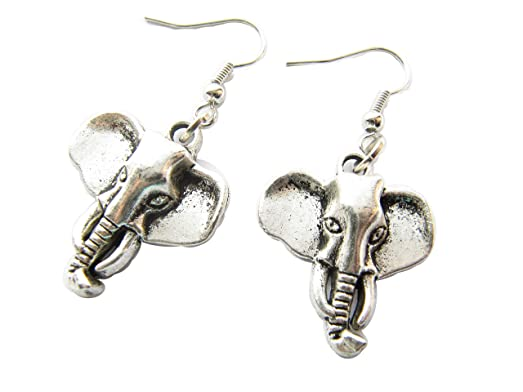 Silver Twosided Detailed Indian Elephant Drop Earrings eYrlq8YSK