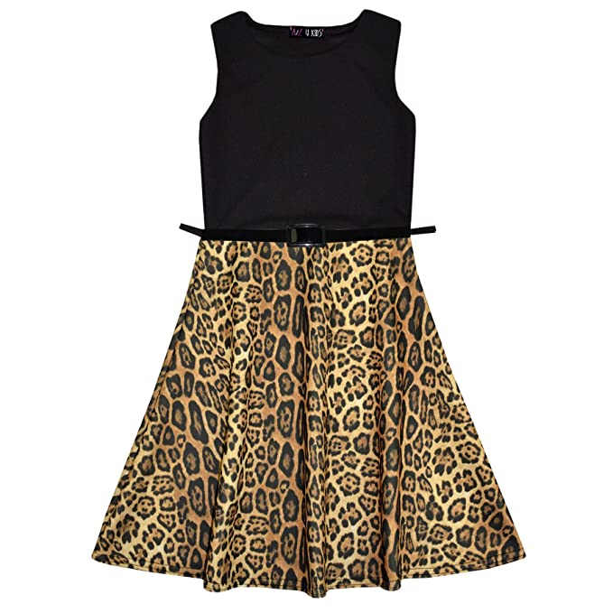 a28f0c898291 Amazon.com  Girls Skater Dress Kids Leopard Contrast Panel Summer Party  Dresses New Age 7-13  Clothing