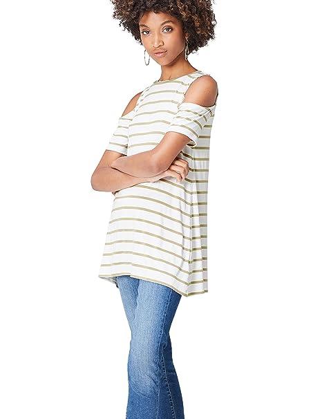 FIND ER1734 Camisetas Mujer Fiesta, Verde (Khaki/White), 36 (Talla