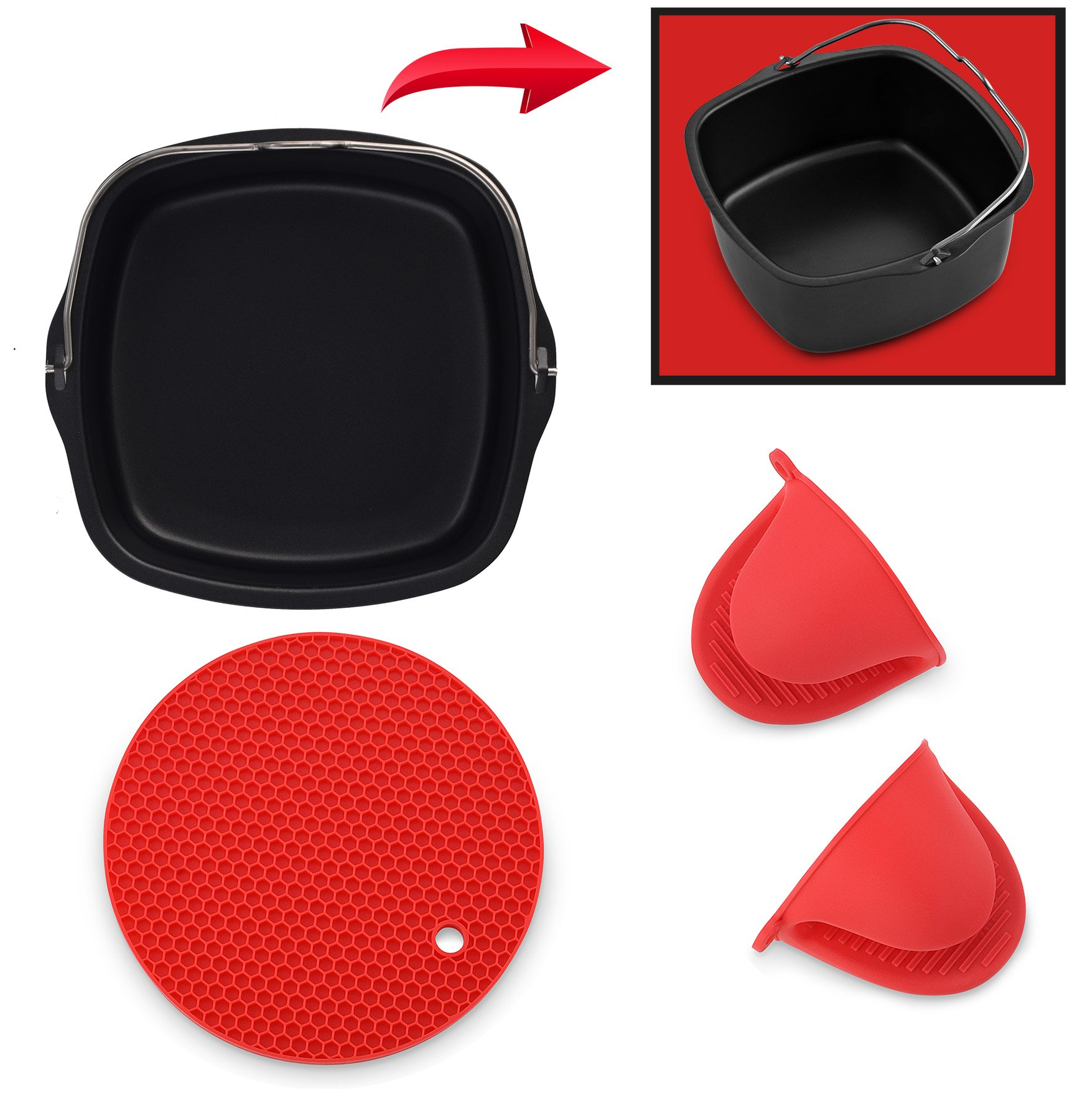 Air Fryer Non Stick Baking Pan Fits Philips Airfryer