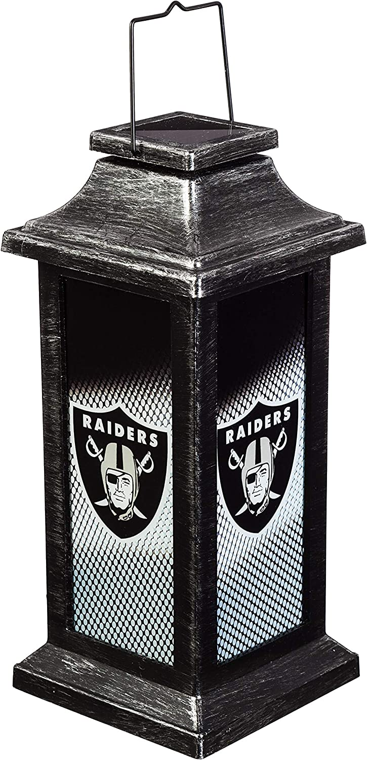 Team Sports America Light Up Solar Garden Lantern for Oakland Raiders Fans 4.4 x 10 x 4.4 Inches