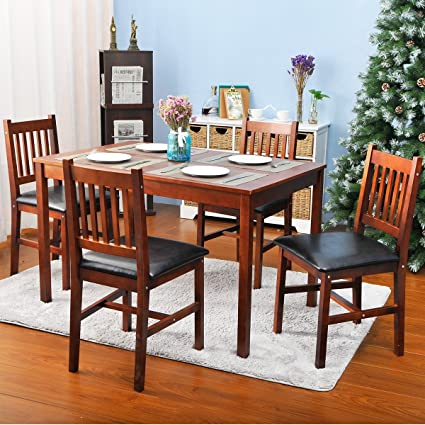 Amazoncom HarperBright Designs Piece Wood Dining Table Set - 5 person kitchen table