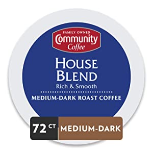 Community Coffee House Blend Medium Dark Roast Single Serve 72 Ct Box, Compatible with Keurig 2.0 K Cup Brewers, Medium Body Rich Smooth Taste, 100%Arabica Coffee Beans