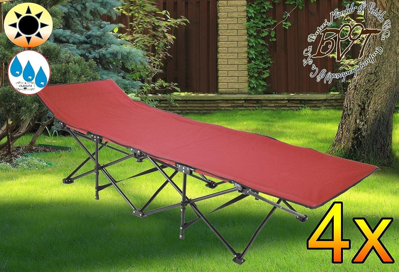 4x Feldbett, US Style Rot Dunkelrot, Robuste Liege Für Garten Und Strand,  Picknick Und Lagerfeuer, Sonnenliege,PREMIUM Relaxliege, Gartenliege Extrem  ...