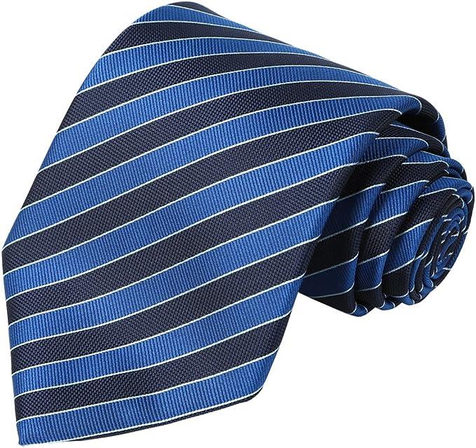 Amazon.com: KissTies corbata azul marino extra larga a rayas ...