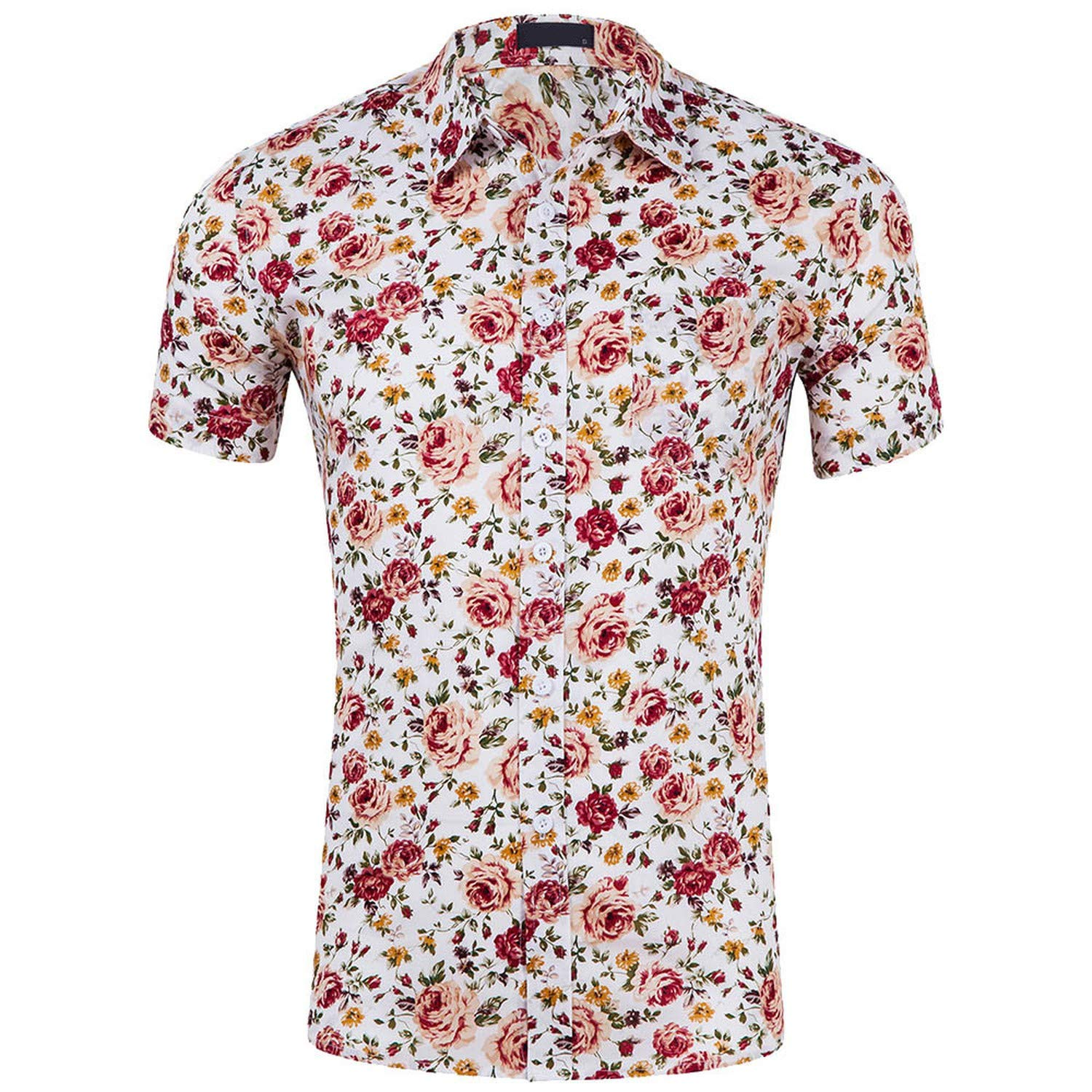 Blouse Men Casual Printed Short Sleeve Slim Shirts Male Clothing Slim Fit Floral Shirt