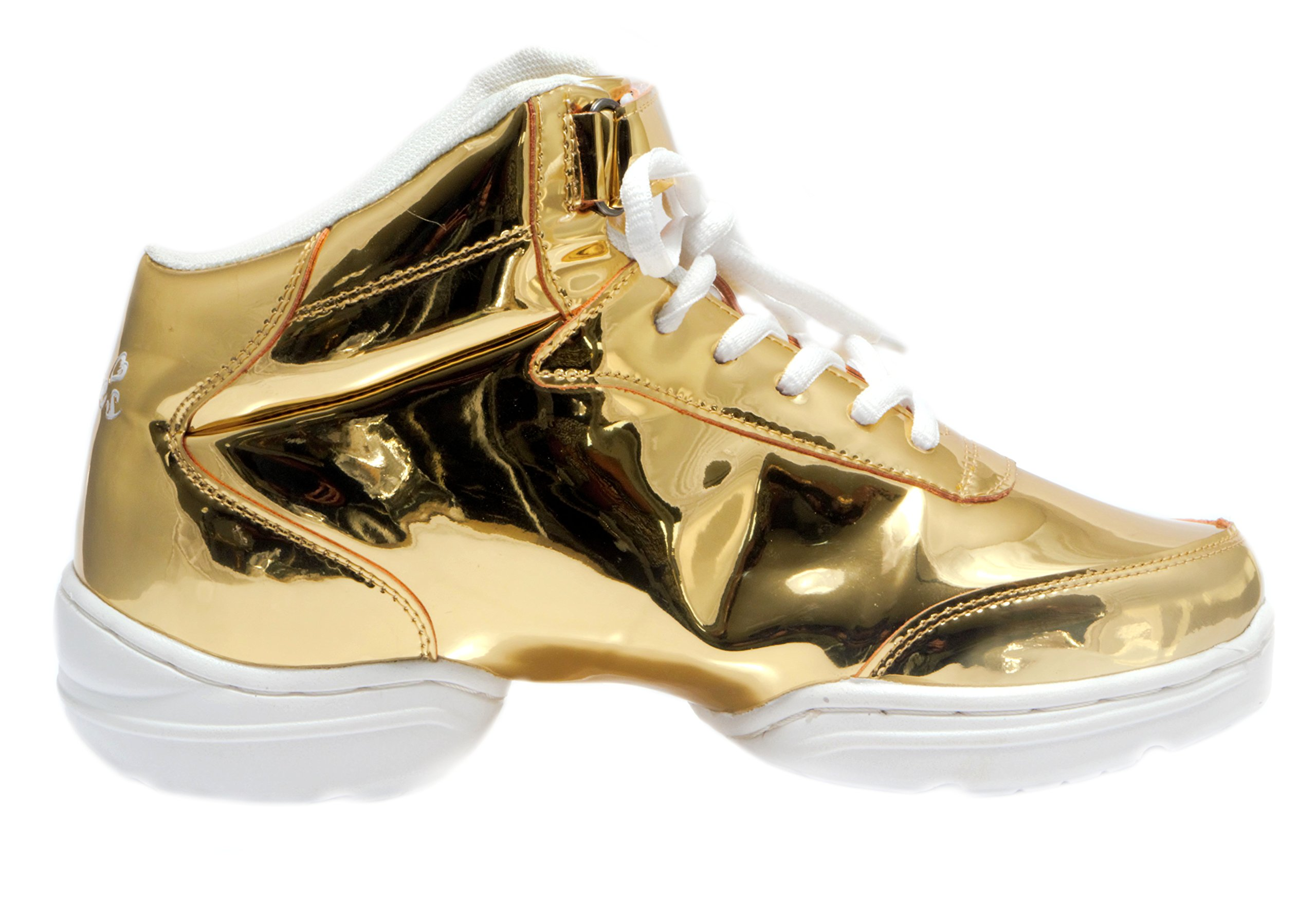 Nene's Collection Gold Women's Dance Fitness Shoes High Top Sneakers (6.5) by Nene's Collection (Image #2)