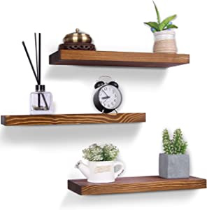 HXSWY Rustic Wood Floating Shelves Farmhouse Wooden Wall Shelves for Bathroom Bedroom Living Room Kitchen Office Light Brown Set of 3