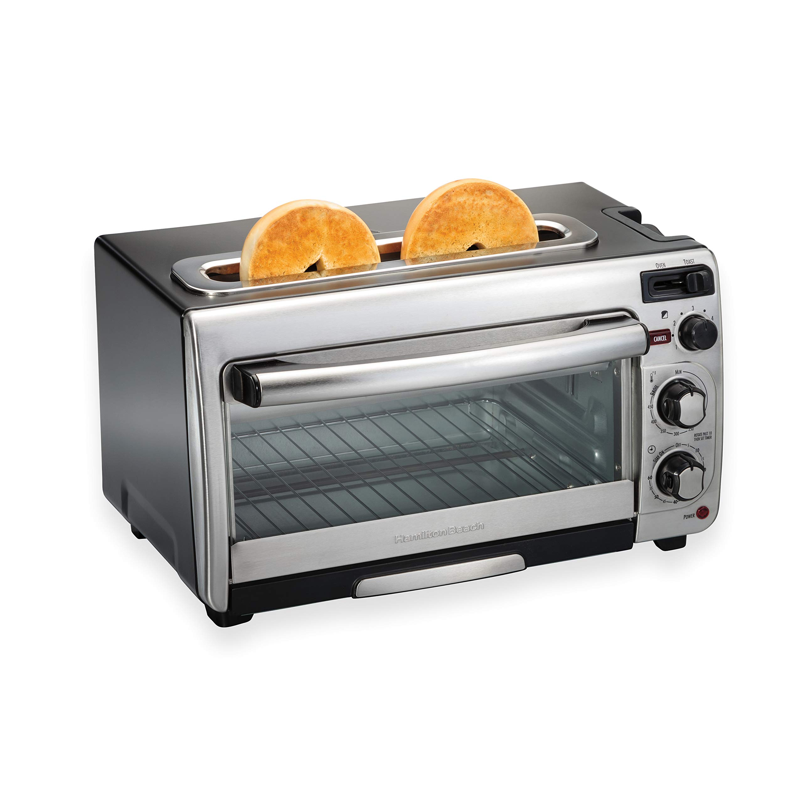 Hamilton Beach 2-In-1 Countertop Oven And Long Slot Toaster, Stainless Steel, 60 Minute Timer And Automatic Shut Off (31156), Large by Hamilton Beach