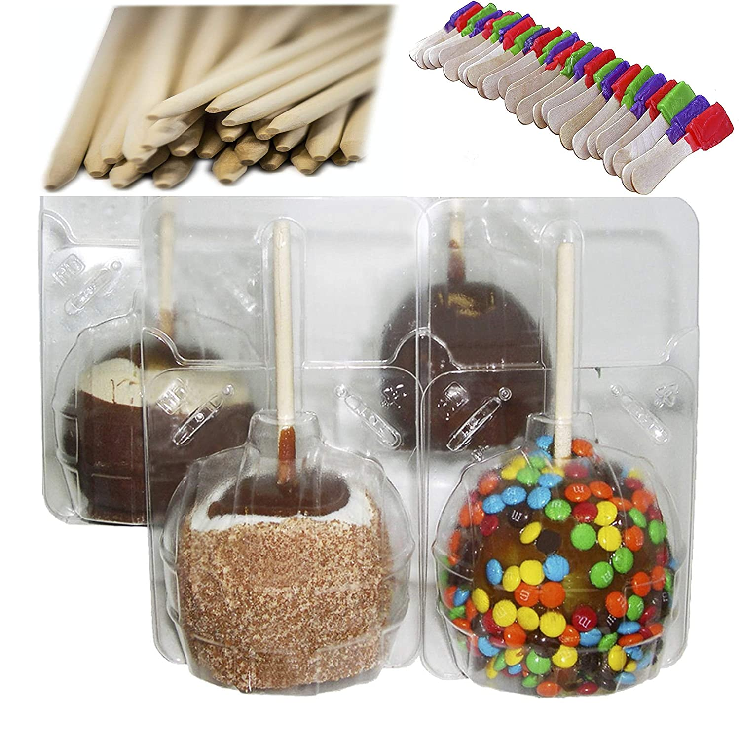 Perfect Stix Clear Large Candy Apple Containers. Includes 25 Clear Boxes and 25 Candy Apple Sticks. Pack Also Includes 25 Candy Spoons