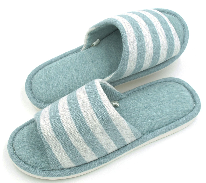 Sunshine Code Women's Memory Foam Cotton Washable Stripe Slippers for Travel House Hotel Spa Bedroom, 27CM, Light Blue