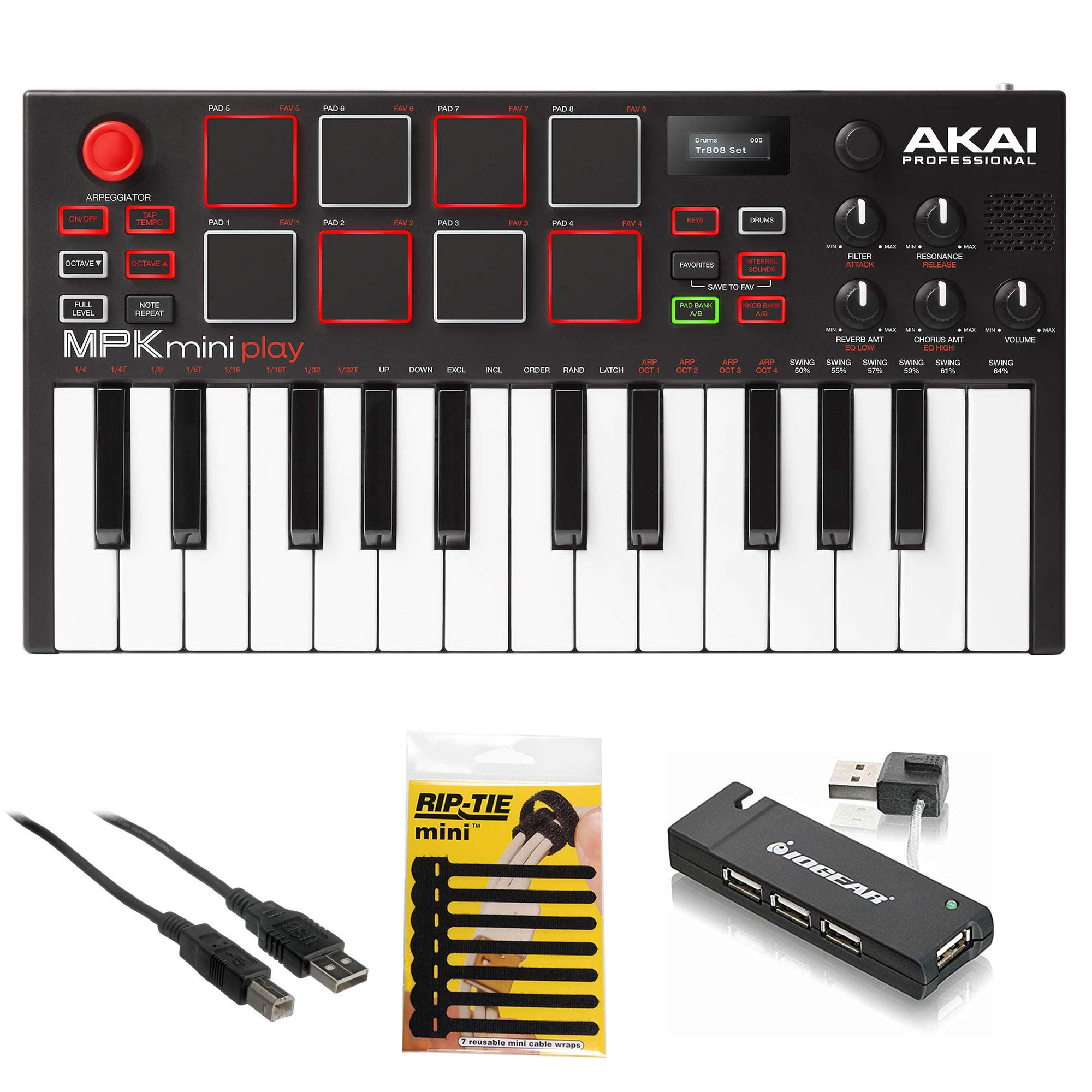 Akai Professional MPK Mini Play - Compact Keyboard and Pad Controller with Integrated Sound Module + Cable + 4-Port USB + Pack of Cable Ties by Akai