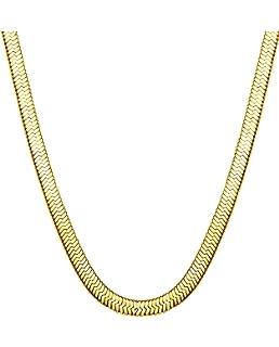7d970cdc9d782 Amazon.com: TUOKAY 18K Gold Herringbone Chain Necklace, 90s Fashion ...