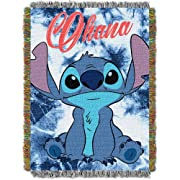 Disney's Lilo & Stitch,  Shibori Stitch  Woven Tapestry Throw Blanket, 48  x 60 , Multi Color