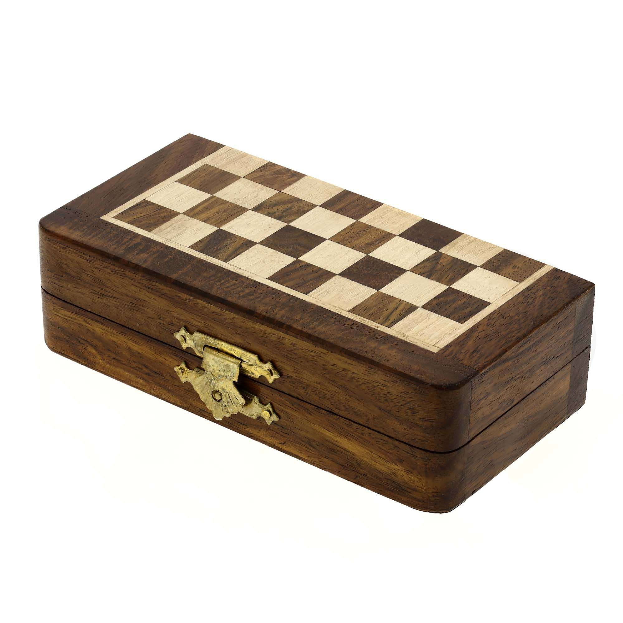 Travel Folding Chess Set And Board Wooden Pieces Gifts Unusual