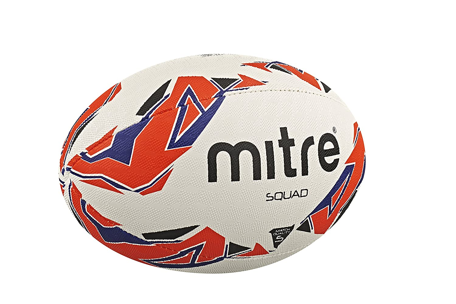 Mitre Mens Squad Match Rugby Ball - White/Red/Blue, Size 4 ...
