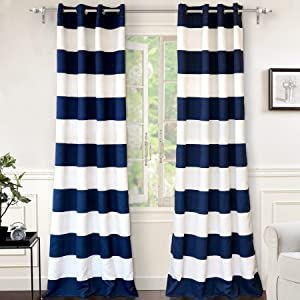 "DriftAway Mia Stripe Room Darkening Grommet Unlined Window Curtains, Set of Two Panels, Each 52""x96 (Navy)"