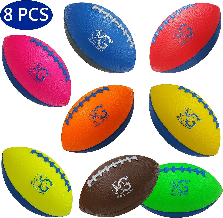 マクロジャイアント6インチソフトフォームフットボール、8個セット、アソートカラー、キッズボール、トレーニング練習、遊び場、幼稚園、親子活動、玩具ギフト、ビジネススタッフ。