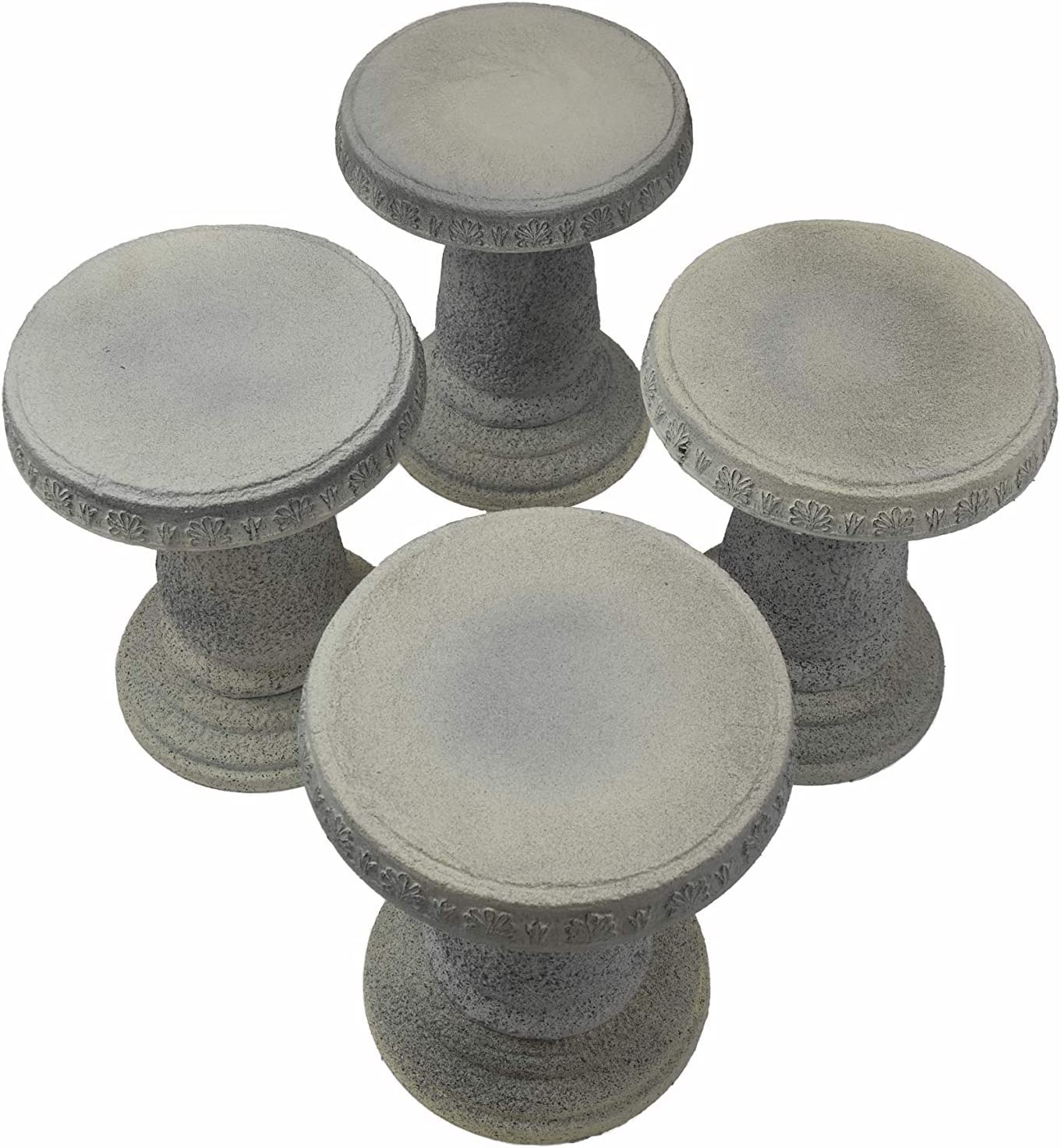 Exaco Trading Company FM-816 Exaco Patio Mushroom Style Stools Set of 4, Distressed Sandstone