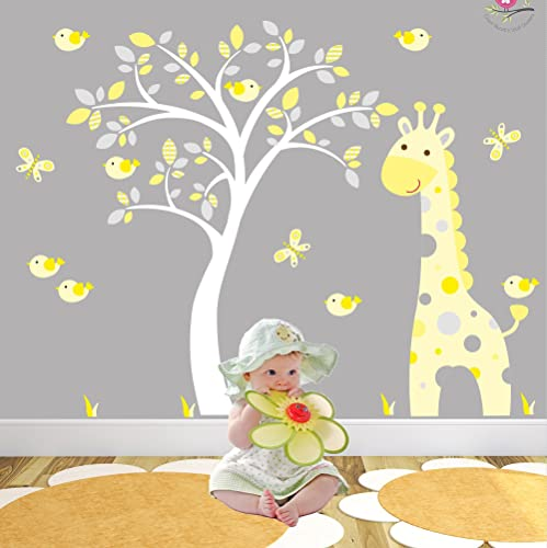 Giraffe Wall Stickers Grey And Yellow Nursery White Tree Mural