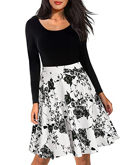 69dee15d2a58a iClosam Women Long Sleeve Fit and Flare Floral Cocktail Pleated Swing Midi  A-Line Dress With Pockets  Amazon.co.uk  Clothing