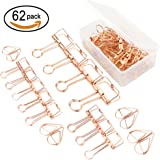 12 Pcs Wire Paper Binder Clips and Approximately 50 Pcs Paper Clips, Assorted size,Rose Gold Color,with storage case