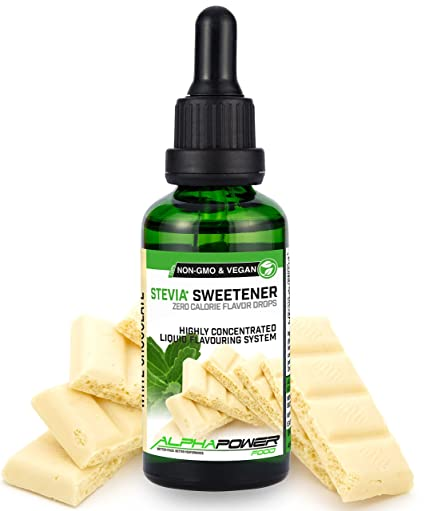 ALPHA POWER FOOD: Stevia líquida natural - Stevia Gotas de chocolate blanco, Edulcorante natural
