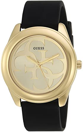 Guess Comfortable Gold Tone Black Stain Resistant Silicone Logo Watch Color Black Model U0911l3