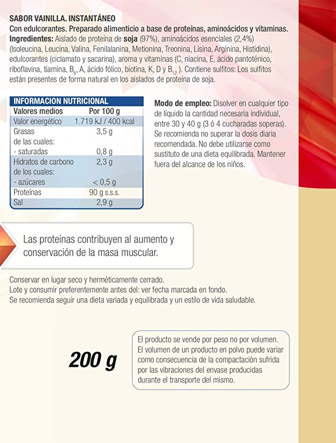 Protein 90 de Santiveri para deportistas (Vainilla) Bote de 200 gr: complemento alimenticio para deportistas a base de proteínas, aminoácidos y ...