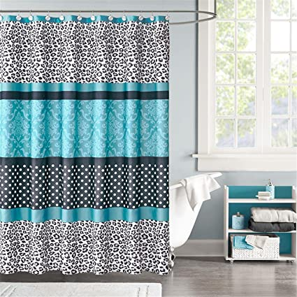 Mi Zone Chloe Stripes Teal And Black Shower Curtain Casual Curtains For Bathroom