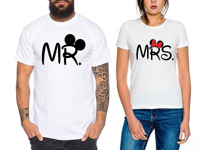 Mr Mrs Partnerlook Camiseta de los Pares Dulce para Parejas como Regalos, Colour:Weiss;Paar Shirts Größen:Mujer tamaño L + Hombre tamaño XL: Amazon.es: Ropa ...
