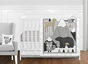 Sweet Jojo Designs Beige, Grey and White Boho Mountain Animal Gray Woodland Forest Friends Baby Unisex Boy or Girl Nursery Crib Bedding Set Without Bumper - 11 Pieces - Deer Fox Bear