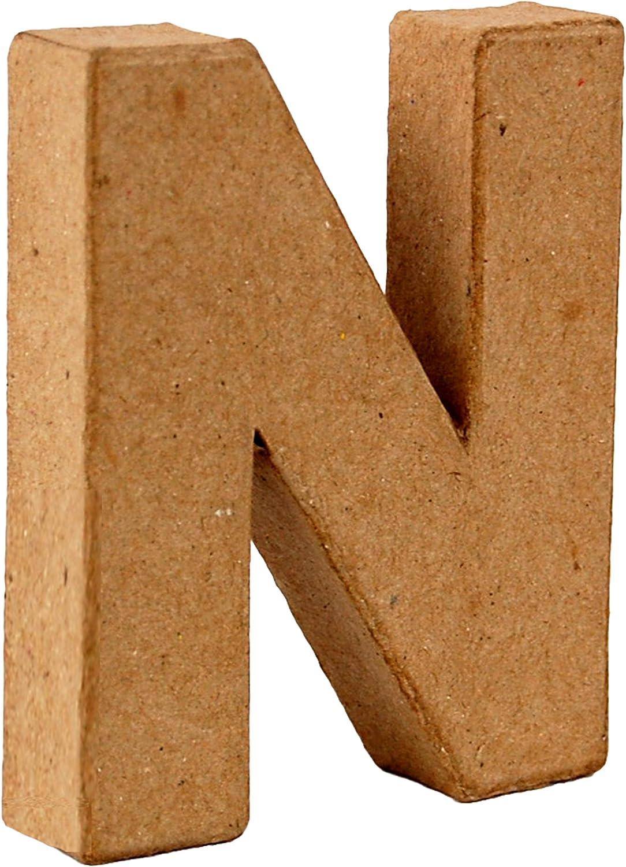 Country Love Crafts 4-inch// 10cm 3D Letter N Papier Mache
