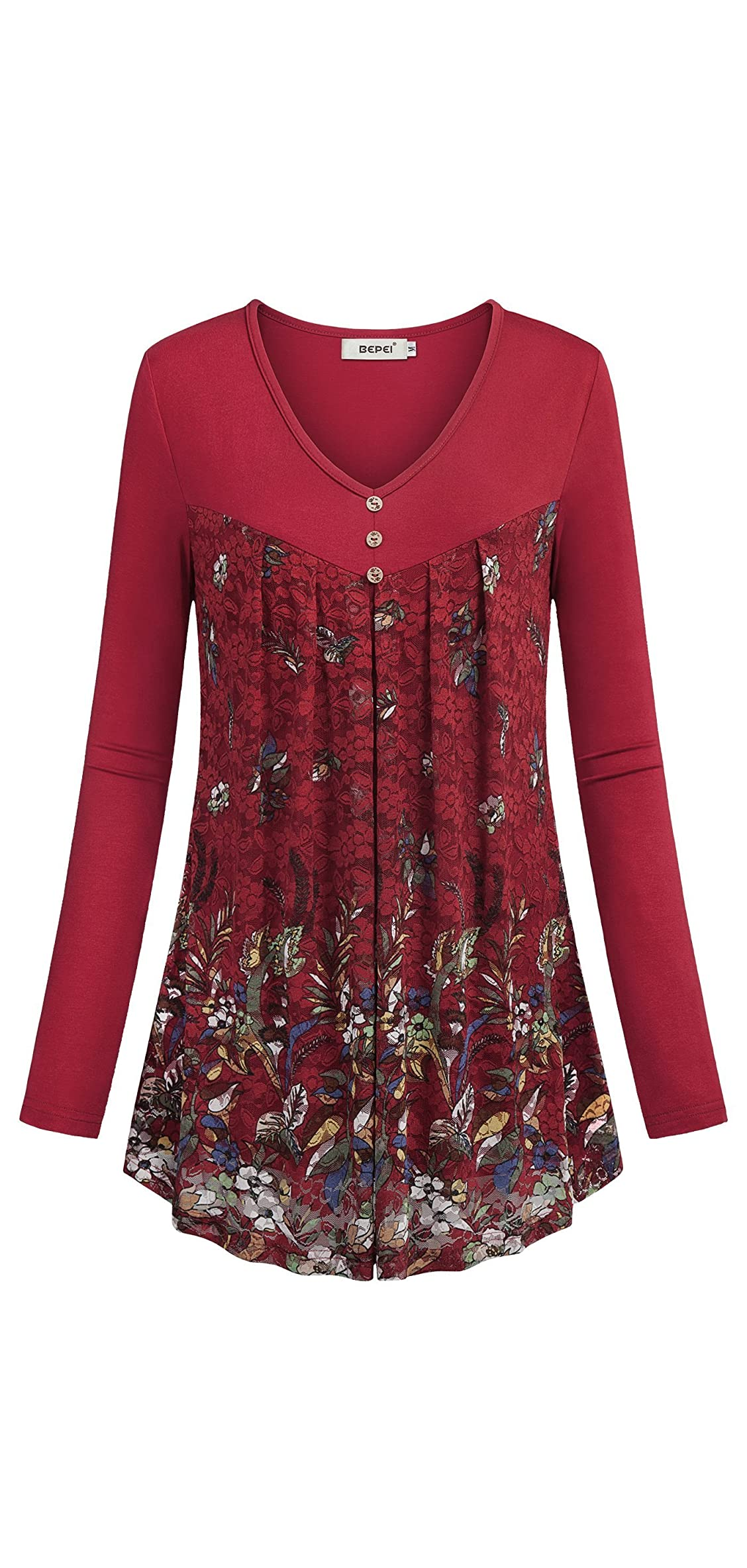 Women Long Sleeve Tunic Lace Floral Double Layers Button